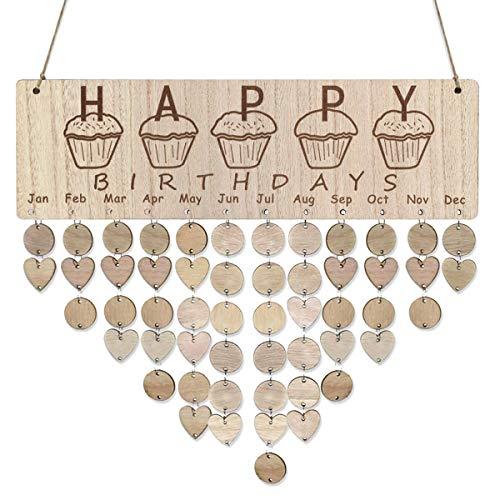 LIOOBO Recordatorio de cumpleaños de Madera Calendario Placa de la Placa de la Muestra Colgante de la Pared decoración Familiar Placa para cumpleaños Aniversario