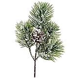 matches21 Tannenzweig Dekozweig künstlich Tanne Deko Zweig Kunstblume Kunstpflanze Schnee Zapfen Weihnachten 1 STK 32 cm