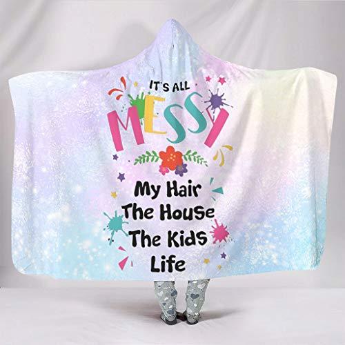 STELULI Manta con capucha My Hair House The Kids Life Oversize Leisure Wear Lujosa bata, se adapta al descanso del mediodía para niñas y niños, regalo blanco 50 x 60 pulgadas