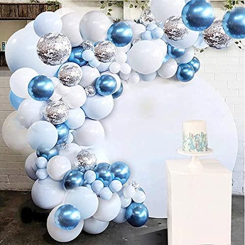 AndThere Kit de Arco Globos Decoraciones para Cumpleaños Fiesta Globo de Látex Confeti Guirnalda de Globos Azul Blanco 105 Piezas Suministros Fiesta para Baby Shower Set de Globo para Boda Graduación