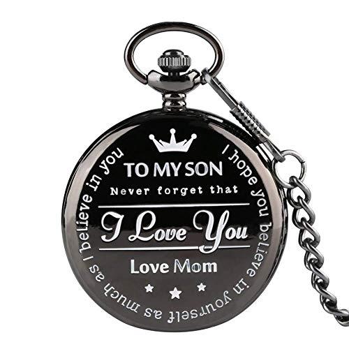 Reloj de Bolsillo Negro 'TO MY Son' Reloj de Bolsillo de Cuarzo para Hombre Tallado Informal Palabra Relojes para Hombre Relojes Regalos Forma Reloj Regalo para niño