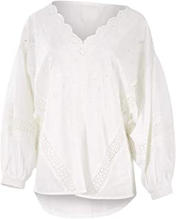 Boho Bird Womens Blouses in The Warmth of The Sun Embroidered Blouse White