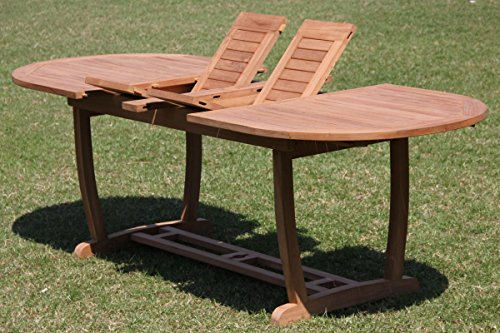 "Hot Sale Grade-A Teak Wood Large double extension 94"" Mas Oval Dining Table with Trestle Legs"
