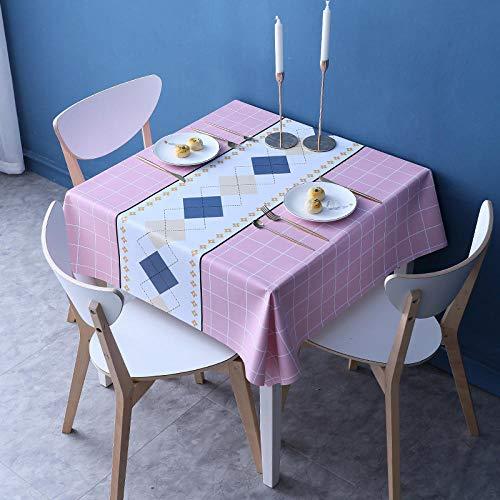 Kuingbhn Manteles Antimanchas Mantel Rectangular de Antimanchas PVC Anti Escaldado Impermeable Vintage Decoración Rosa a 120×170cm