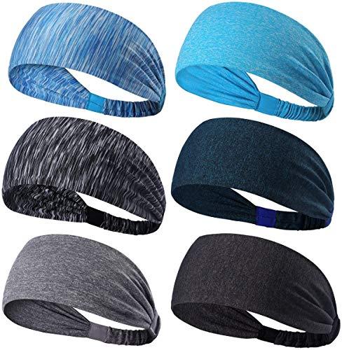 Dreamlover Workout Headbands for Women, Non Slip Sport Headband for Men, 6 Pack