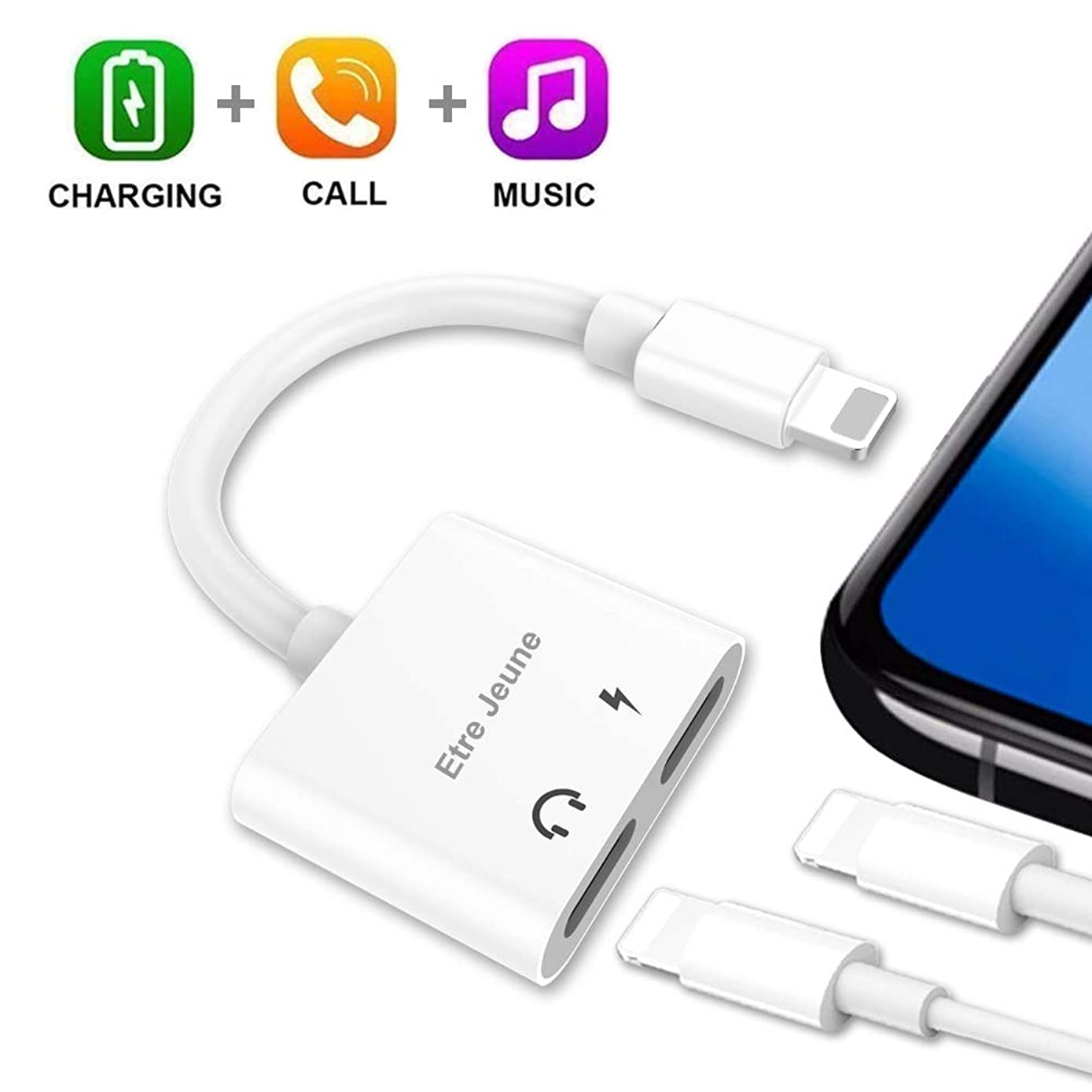 Etre Jeune Dual Adapter Splitter for Headphones and Charger, 4 in 1 Headphone Audio Aux Cable Compatible with iPhone X/ 7/Plus/ 8/Plus, Support Music Control/ Phone Call