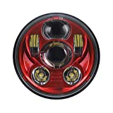 Atubeix 5-3/4 5.75' LED Headlight Motorcycle Lamp For Iron 883 Dyna Sportster Low Rider Triple Wide Glide LED Projector Driving Light (Red color Diamater 143MM)