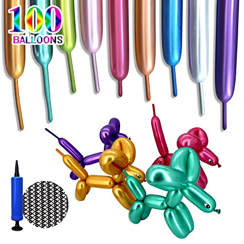 100Pcs Metallic 260 Balloons, Long Latex Balloons Chrome for Twisting Animals Flower.Long Twist Balloons Kits With Pump for Birthday Wedding Party Decorations Multicolor