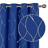 Deconovo Cortinas opacas con ojales, para salón, línea estampada, 229 x 168 cm, color azul real, juego de 2 unidades