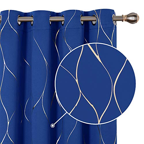Deconovo Cortinas Salon Modernas Aislantes Térmicas de de Rayas con Ollados 2 Piezas 117 x 229 cm Azul Oscuro