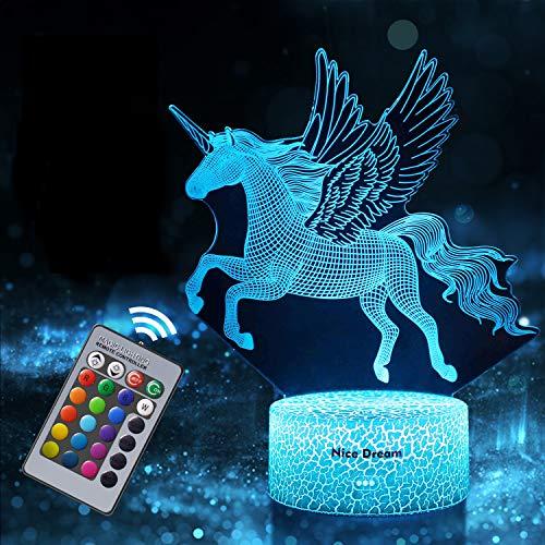 Einhorn Geschenk Einhorn Nachtlicht für Kinder, Einhorn 3D Licht Lampe 16 Farben ändern mit Remote Urlaub und Geburtstagsgeschenke Ideen für Kinder