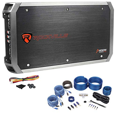 Rockville RXA-F2 2400 Watt Peak/600w CEA RMS 4 Channel Car Amplifier+Amp Kit