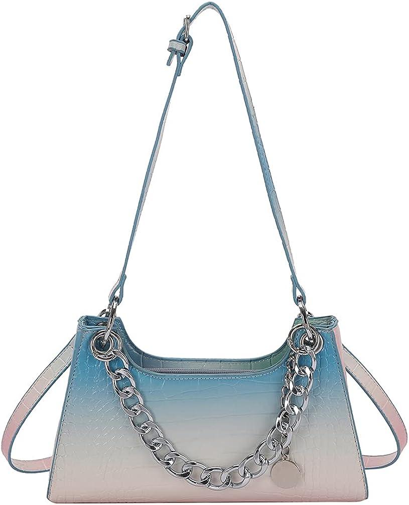 Small Shoulder Bags Retro Classic Tote Handbag with 3 Straps Crocodile Pattern Crossbody Clutch Purse for Women