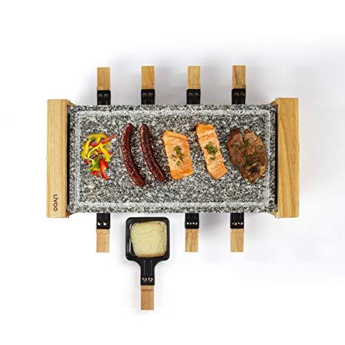 LIVOO DOC219 Raclette-Gerät für 8 Personen | Finish aus Echtholz + Grillrost aus Granitstein | 8 Fondue + 8 Spatel inklusive | 1200 W