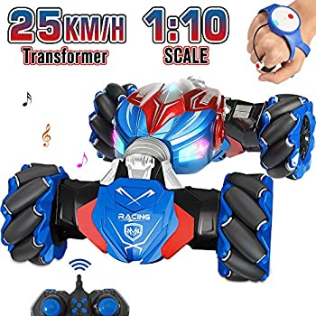 NQD RC Car 1 10 Large Off Road Remote Control Monster Truck Gesture Sensing Double Sided Remote Control Car with Cool Lights Gift for Boys & Girls