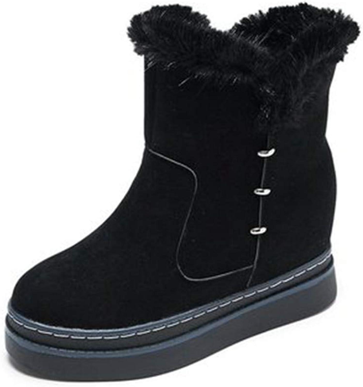 GIY Women's Winter Fur Wedge Snow Ankle Boots Suede Platform Zipper Hidden High Heel Walking Short Booties