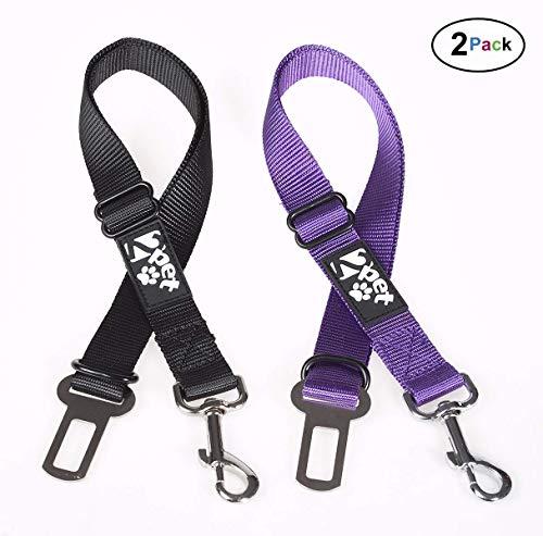 2PET Dog Seat Belt Strap Adjustable - Dog Car Seatbelt for All Dog Breeds & Sizes - Fits Seatbelt Latches of Most Car Makes Buckles- 21