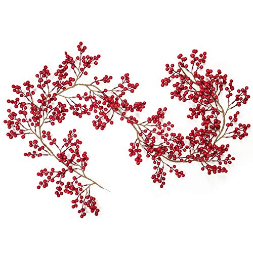 Lvydec Red Berry Garland Christmas Decoration - 6ft Artificial Red Berry Garland with Bendable Stems for Holiday Fireplace Stairs Table Decorations