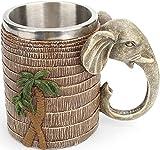 Taza de Elefante, Taza de Café de Acero Inoxidable con Decoración de árbol de Coco, Taza Creativa de Bosque Tropical Lluvioso para Bebidas, Café, Cerveza, Jugo de 600 ml