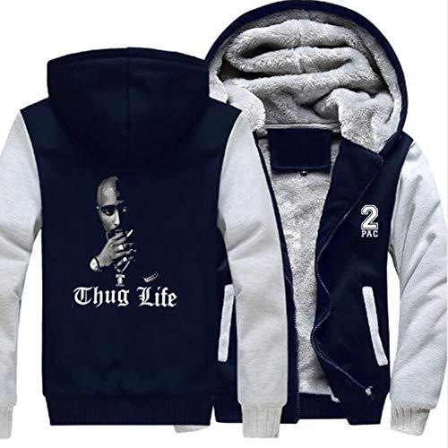 Tupac Hip-Hop Thug Life Hoodie, modische Freizeitjacke für Herren und Damen, Pullover mit Reißverschluss, warmes Plus-Samt-Plus-Samt-Jackenoberteil