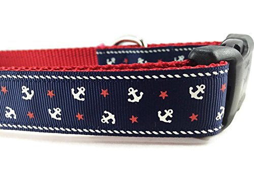 "Blue Anchor Dog Collar, Caninedesign, Navy, Sailing, 1 inch Wide, Adjustable, Nylon, Medium and Large (Medium 13-19"")"