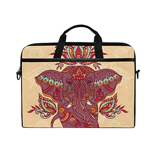 EZIOLY Indian Elephant With Paisley Laptop Shoulder Messenger Bag Case Sleeve for 13 Inch to 14 inch Laptop