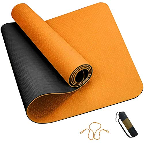 ROMIX Yogamatte, 6MM Dick Doppelseitig TPE Gymnastikmatte mit Tragetasche und Tragegurt, Umweltfreundlich rutschfest Joga Sport Fitnessmatte für Männer Frauen Pilates Yoga Training - 183 x 61 x 0.6cm