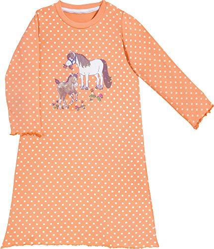 Erwin Müller Single-Jersey Kinder-Nachthemd - Pyjama Langarm - mit Rundhalsausschnitt - hautfreundliche und elastische Qualität - Pferde - apricot/weiß - Größe 122/128