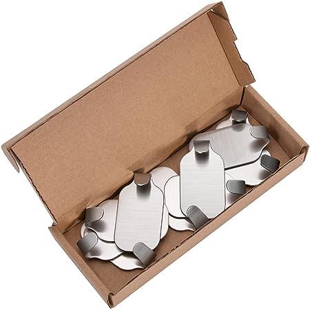 BEEWAY Metal Hooks - Stainless Steel, Self Adhesive, Pack of 10