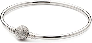 ATHENAIE Authentic 925 Sterling Silver Basic Charm Bracelet Bangle Plated Platinum with Pave Clear CZ Snap Clasp