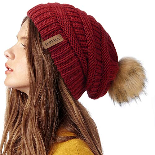FURTALK Womens Winter Knit Slouchy Red Beanie Hat Warm Skull Ski Cap Faux Fur Pom Pom Hats for Women