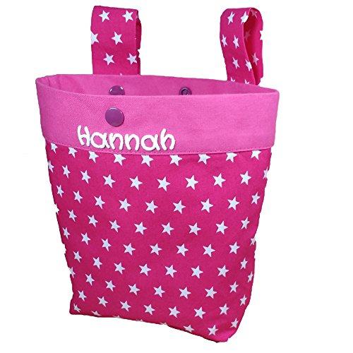 Loopfiets stuurtas met naam, loopfietstas, fietsmand, kinderfietstas, kleine geschenken, cadeaus voor kinderen 24x15x20cm roze