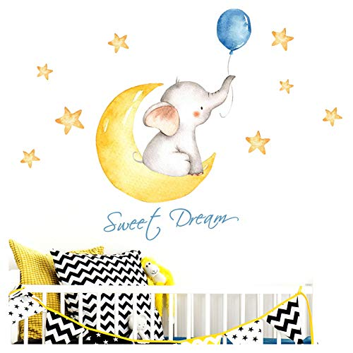 Little Deco Pegatin Elephant & Saying Sweet Dream I M - 139 x 63 cm (WxH) I Cuadros de Pared la Luna y Las Estrellas Tatuaje los Animales habitación niños Deco Baby Room Boy DL190