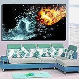 Cuadro de lienzo de puño abstracto creativo, póster de impacto de hielo y fuego, dormitorio, sala de estar, arte de pared, imágenes decorativas estéticas | 50x90cm | sin marco