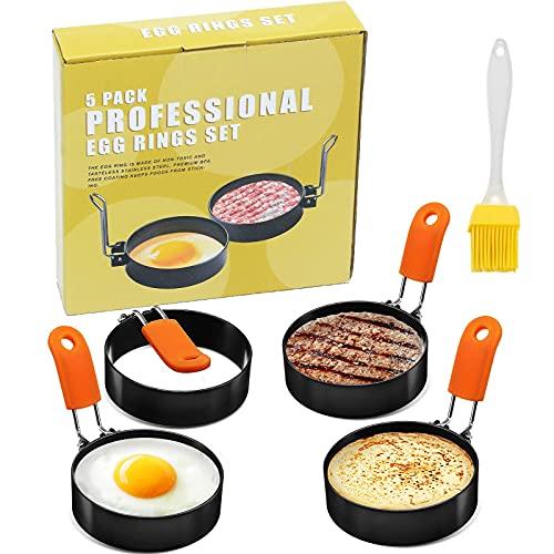 4Pack Egg Rings for Frying Eggs, Professional Stainless Steel Round Egg...