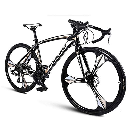 DJYD 26-Zoll-Straßen-Fahrrad, Männer 27 Geschwindigkeit Mechanische Scheibenbremsen Rennrad, High-Carbon Stahlrahmen Rennrad, perfekt for Straße oder Schmutz Trail Touring, Rose Gold FDWFN