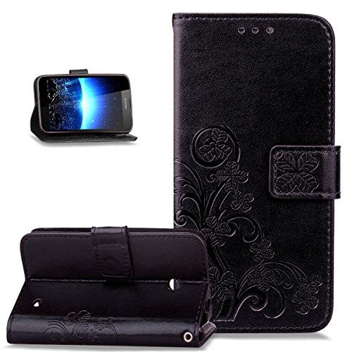 Kompatibel mit Schutzhülle Nokia Lumia 630/635 Hülle Handyhülle Lederhülle,Malerei Schmetterling PU Lederhülle Flip Hülle Cover Ständer Etui Karten Slot Wallet Tasche Case Schutzhülle,Schwarz