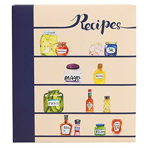 COFICE Recipe Binder – 8.5x9.5 Recipe Ring Binder, 4x6 Cards and Tabbed Dividers, Seasoning Design
