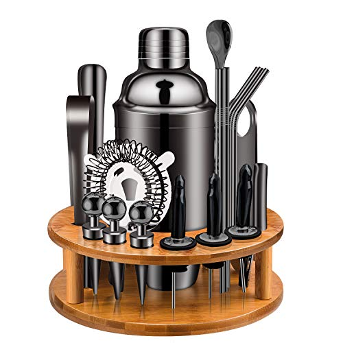 Cocktail Shaker Set, X-cosrack 19 Piece Bartender Kit with Bamboo Rotating Stand:Stainless Steel Bar Set for Home, Bars, Parties and...