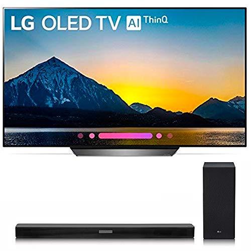 LG 65 inch 4K Smart OLED TV OLED65B8PUA (2018) Bundle with LG SK6Y 2.1 High Res Audio Sound Bar