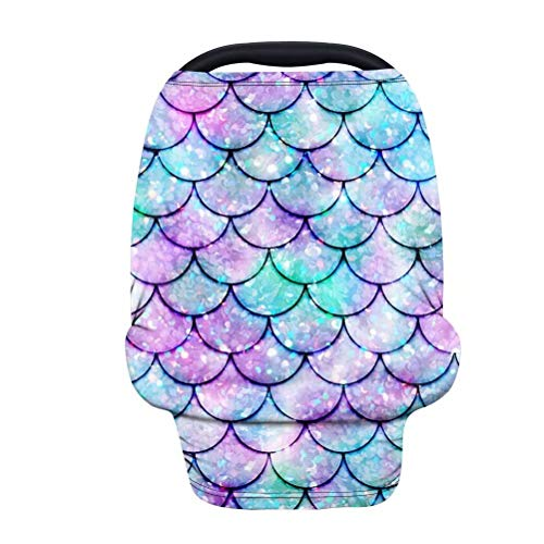 GOSTONG Mermaid Fish Scale Stretchy Baby Car Seat Cover,Multiuse Nursing Breastfeeding Covers,Shopping Cart/High Chair/Stroller Canopy,Infant Car Seat Canopies for Boys Girls Moms Baby Necessities