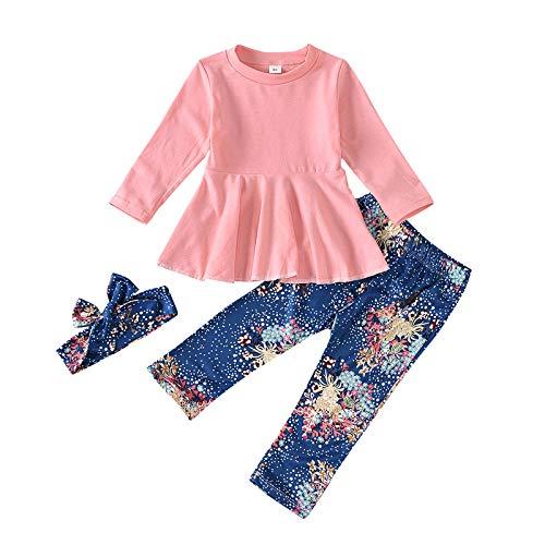 Neugeborene Baby Mädchen Freizeitanzug Langarmshirts Rock Saum Tops + Hosen mit Blumen Drucken + Stirnbänder-Sets, Rosa, 3-4 Jahre