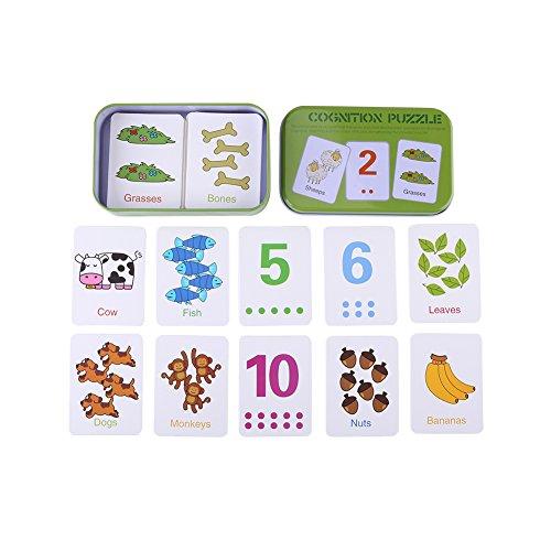 Zerodis Leuke Cognitie Puzzel Kaarten In Metalen Opbergdoos, Nummers/Letters/Vormen/Dieren Vroeg Leren Speelgoed voor Peuters Kinderen 0-6 Jaar Oude Gift