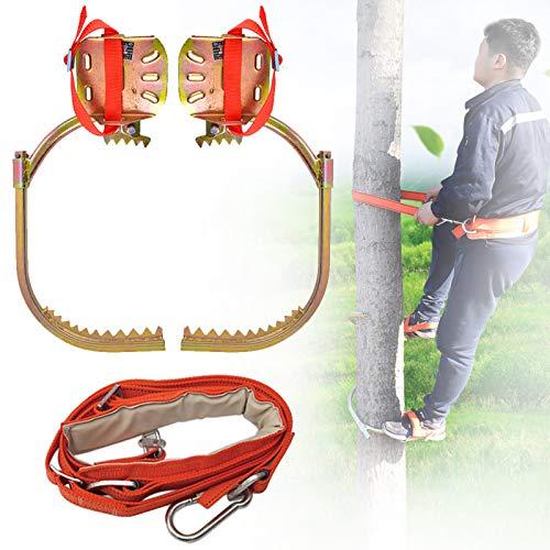 Crampones Ligeros, Acero Inoxidable Grampones con el Juego Safe Belt, Profesional Herramienta para Trepar árboles para Escalar Observación de Caza Cosecha Fruta,600model