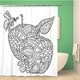 Awowee Dekorativer Duschvorhang Honigapfel & Bienen Skizze für Tattoo, Erwachsene, 152 x 180 cm, Polyester-Stoff, wasserdicht, Badvorhang-Set mit Haken für Badezimmer