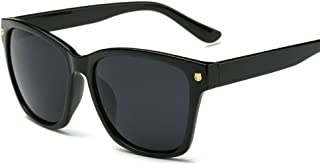 Vintage Large Squared Sunglasses for Women Black Plastic Frame Clear Reflective