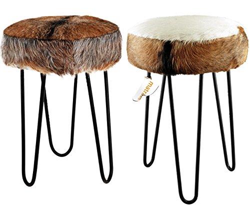 Hocker mit echten Ziegenfell und Metallbeinen - 43 cm - Fußhocker Dekohocker Sitzhocker hauptsächlich weiße Sitzfläche