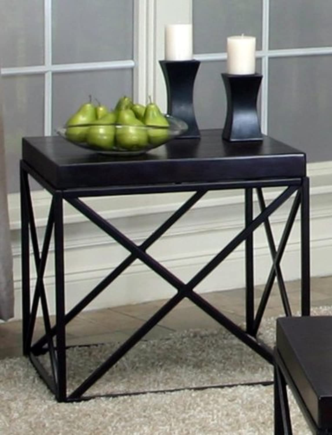 Roundhill Furniture Erica Black Metal and Espresso Wood End Table