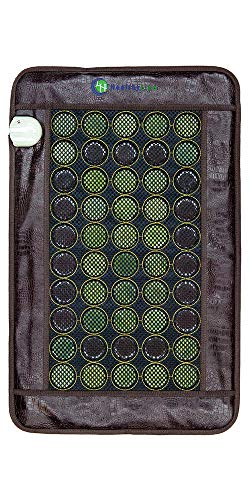 HealthyLine Heating Pad with Far Infrared Radiant Heat Technology 32in x 20in - Hot Stone Therapy - Negative Ions - 50 Pieces Natural Gemstone