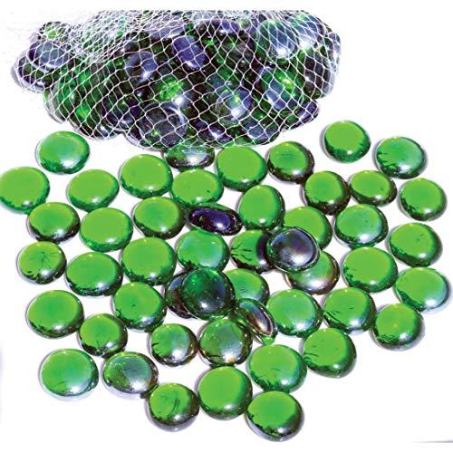 NEEZ Cristal Decorativo Cristal Redondeado Guijarros Piedras Cuentas Nuggets Azulejos Gemas para Decoración Floreros de Acuario Inicio (Verde Color-100pcs-500 g)